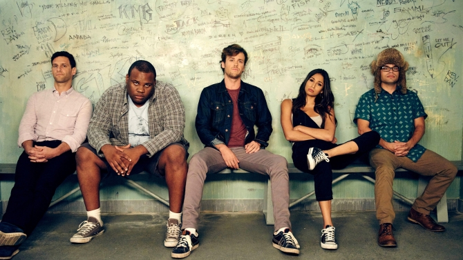"COOPER BARRETT'S GUIDE TO SURVIVING LIFE : L-R: Justin Bartha as Josh Barrett, James Earl as Barry, Jack Cutmore-Scott as Cooper Barrett, Meaghan Rath as Kelly and Charlie Saxton as Neal in the ""How to Survive Losing Your Phone"" episode of COOPER BARRETT'S GUIDE TO SURVIVING LIFE airing Sunday, Feb. 14 (8:30-9:00 PM ET/PT) on FOX. © 2016 FOX Broadcasting Co. Cr: Michael Becker / FOX."