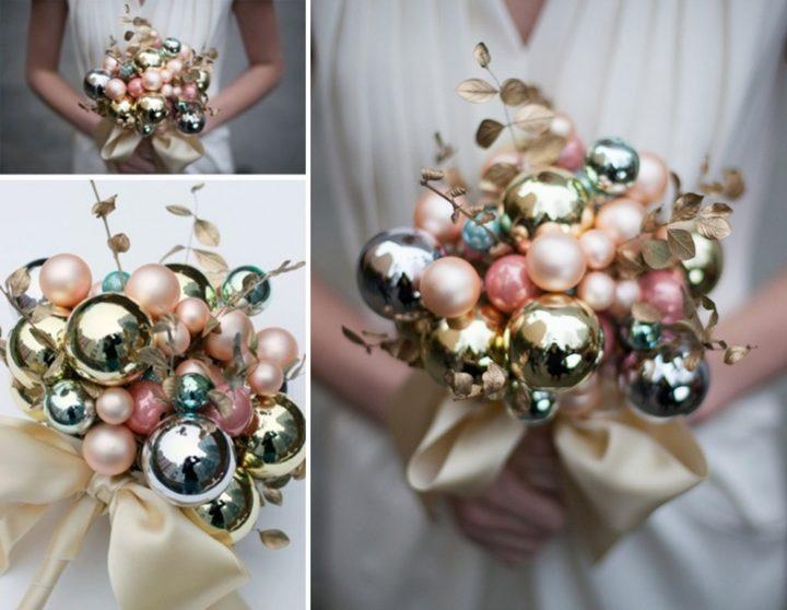 Bouquet Natalizio Matrimonio : Christmas wedding il bouquet di palline di natale tratto rosa