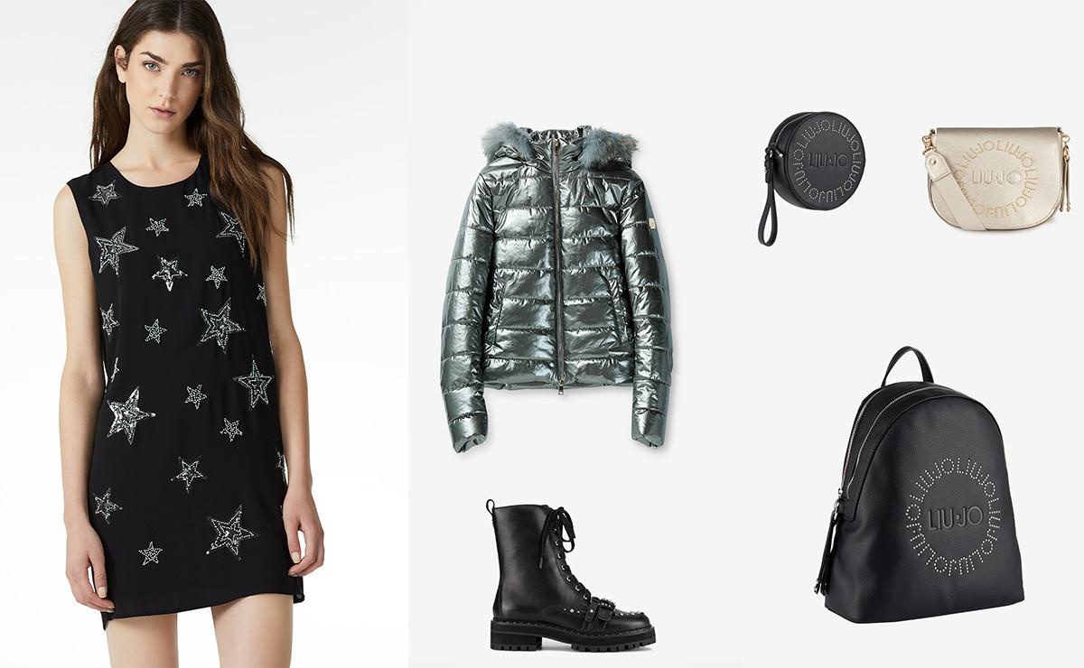 40a7046601267 L outfit Liu Jo che vi consigliamo è composto dall abbinamento dell abito  Glamorous Scouting – corto in georgette con paillettes in applicazione e  cut out ...